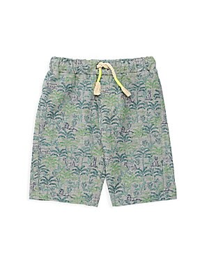 Image of French terry shorts with a tropical lion and palm leaf print. Drawstring waist Cotton/modal/spandex Machine wash Imported. Children's Wear - Contemporary Children > Saks Fifth Avenue. Egg Baby. Color: Green. Size: 5.