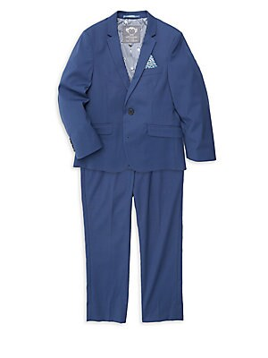 Image of Mod suit features single-breasted jacket styling with print pocket square and skinny leg dress pants in smooth stretch fabric. Polyester/rayon/spandex. Dry clean. Imported. JACKET Notched lapels Front two-button closure Long sleeves Button cuffs Chest moc