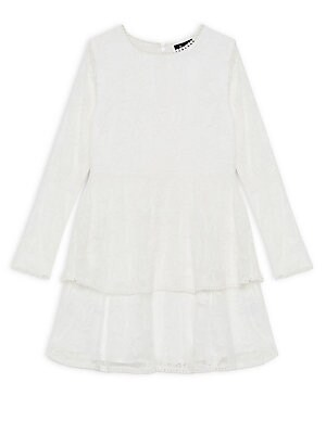 Image of A jacquard floral print lends stylish texture to this tiered flare dress, perfect for special occasions. Scoopneck Long sleeves Back zip closure Embroidery trim Nylon Hand wash Imported. Children's Wear - Contemporary Children. Bardot. Color: Ivory. Size: