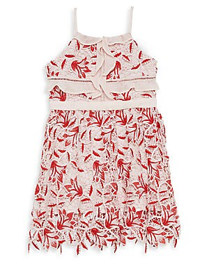 Image of Girly tonal lace defines this cute A-line styled with a banded waistline and ruffled trim. Squareneck Sleeveless Spaghetti straps Back zip closure Ladder insets Lined Polyester/elastane Hand wash Imported. Children's Wear - Contemporary Children. Bardot.