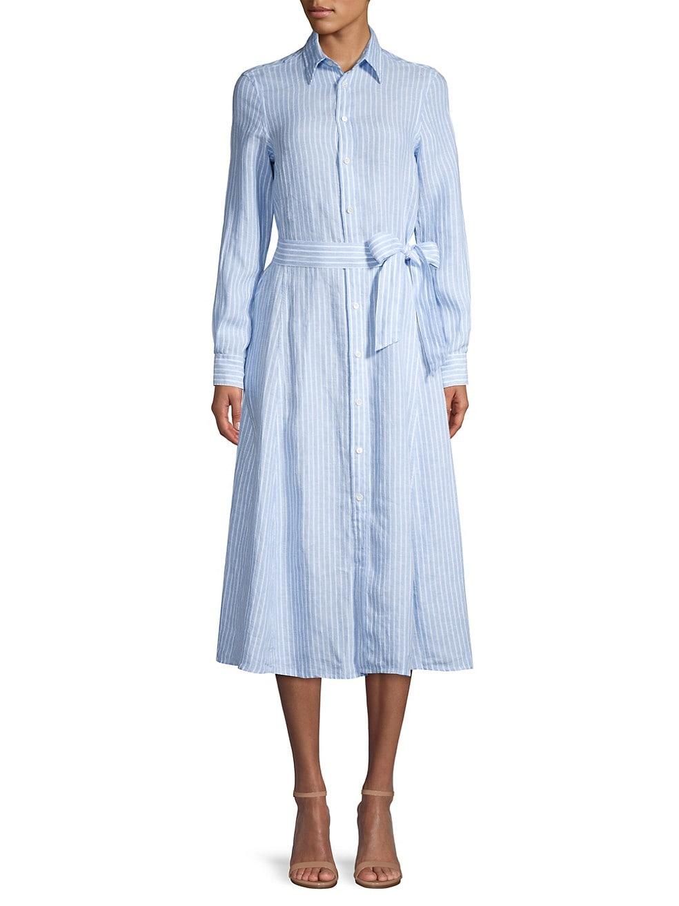 Ashton Striped Linen Shirt Dress