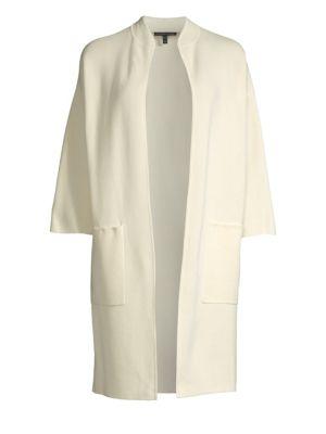 Eileen Fisher Jackets High Collar Three-Quarter Sleeve Jacket