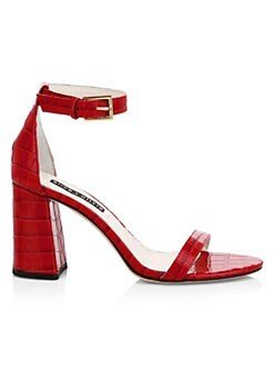 daad590547c Alice + Olivia. Lillian Crocodile-Embossed Leather Slingback Sandals