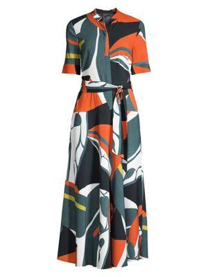 Lafayette 148 Dresses Augustina Geometric Print Midi Dress