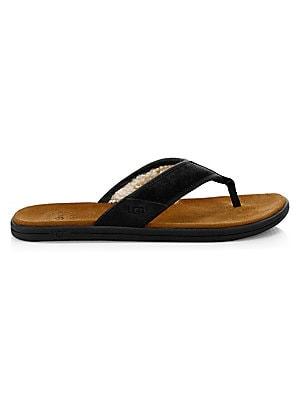 3a5d904ddad Ugg - Men's Seaside Suede Faux Shearling-Lined Flip Flops