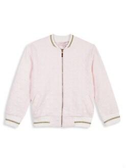 6d87ab6dca26 Lili Gaufrette. Little Girl s Heart Fleece Bomber Jacket