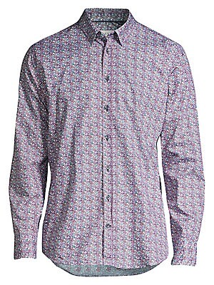 """Image of A kaleidoscopic floral print is a dynamic addition to this button-down cotton shirt. Point collar Long sleeves Buttoned barrel cuffs Button front Shirttail hem Cotton Machine wash Imported SIZE & FIT Modern fit About 31"""" from shoulder to hem. Men Luxury C"""