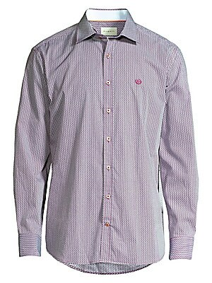"""Image of A micro-diamond print patterns this button-down cotton shirt with graphic appeal. Spread collar Long sleeves Buttoned barrel cuffs Button front Shirttail hem Cotton Machine wash Imported SIZE & FIT Modern fit About 31"""" from shoulder to hem. Men Luxury Col"""