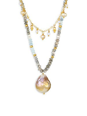 Image of A modern twist on the classic pearl necklace featuring a mix of gemstones and cream pearls suspending a large natural pink pearl. Natural pink Blister pearl, 13-15mm Cream Baroque pearls, 4mm Aquamarine Agate 18K goldplated sterling silver Lobster clasp I