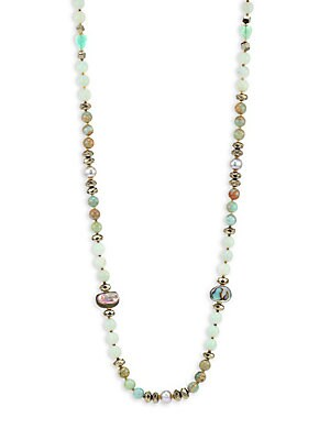 Image of A modern twist on classic pearls featuring a mix of gemstones and freshwater pearls. Wear in one long strand or double up. Silver and grey potato freshwater pearls, 10-10.5mm Amazonite Pyrite Tere Abalone 18K goldplated Hematine Imported SIZE Length, abou