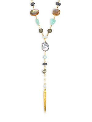 Image of 18K goldplated sterling silver Y shaped necklace showcases an interplay of peacock pearl, amazonite, abalone, pyrite and labradorite, suspending a golden dagger. Coin Peacock pearl, 13-14mm Amazonite Abalone Pyrite Labradorite 18K goldplated sterling silv