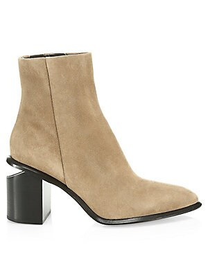 "Image of A chunky cutout heel adds instant edge to these point-toe booties crafted from rich suede. Suede upper Point toe Side zip Seamed detail Leather lining and sole Imported SIZE Stacked block heel, 3"" (80mm). Women's Shoes - Contemporary Womens Shoe. Alexande"