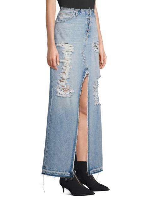 Hudson Sloane Long Distressed Denim Skirt   SaksFifthAvenue