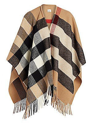 Check Long Mega Cape by Burberry