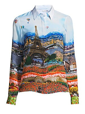 "Image of A collage print blending classic European imagery patterns this silk blouse. Point collar Long sleeves Buttoned barrel cuffs Concealed button front Back pleat Silk Dry clean Imported SIZE & FIT Relaxed silhouette About 24"" from shoulder to hem Model shown"