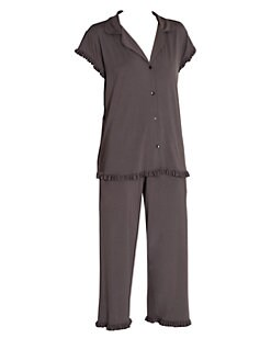 a7f7357bd Product image. QUICK VIEW. Eberjey. Ruthie Two-Piece Ruffled & Cropped  Pajama Set