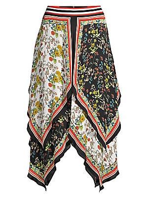 91bf636aadd Alice + Olivia - Maura Tiered Handkerchief Hem Skirt - saks.com