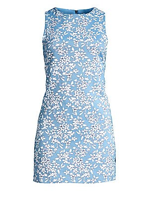 """Image of A silhouette-like floral print is a pretty addition to this sleeveless mini dress. Roundneck Sleeveless Concealed back zip closure Cotton/nylon/elastane Dry clean Imported of Italian fabric SIZE & FIT Mini silhouette About 32"""" from shoulder to hem Model s"""