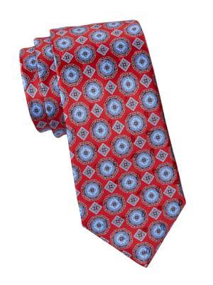 Ermenegildo Zegna Medallion Print Silk Tie