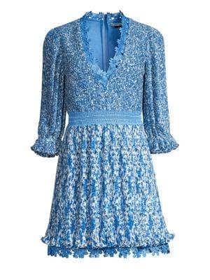 78b0edcbdc0ed Shoptagr | Jonna Pleated Deep V Mini Dress by Alice + Olivia