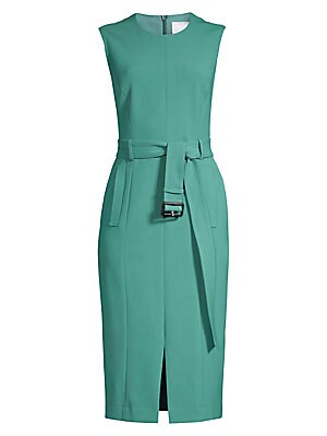Image of Adjustable buckle belted waist lends a cinched silhouette to this billowy crepe sheath dress with the front vent. Roundneck Cap sleeves Concealed back zip Adjustable buckle belted waist Waist flap pockets Front vent Fully lined Polyester/viscose/cotton/el