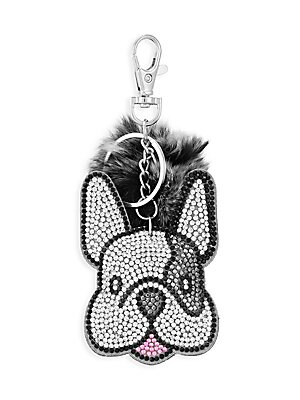 "Image of Adorable crystal-studded bulldog keychain finished with a rabbit fur pom-pom. Lobster clasp Fur type: Dyed rabbit Fur treatment: China Polyurethane/crystals Imported SIZE 3""W x 3.5""H. Children's Wear - Infant Toys And Gifts > Saks Fifth Avenue. Bari Lynn."