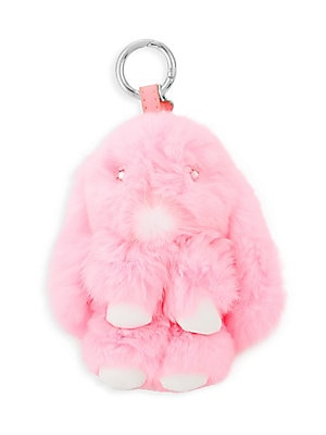 "Image of Adorable bunny keychain crafted in rabbit fur with crystal detailing. Ring clasp Fur type: Dyed rabbit Fur origin: China Spot clean Made in USA SIZE 3.5""W x 5""H. Children's Wear - Infant Toys And Gifts > Saks Fifth Avenue. Bari Lynn. Color: Pink."