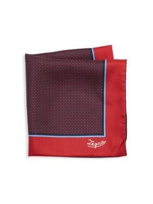 Ermenegildo Zegna Accessories Diamond Print Silk Pocket Square