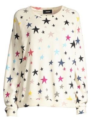 Monrow T-shirts Oversized Raglan Sleeve Multicolor Stars Sweatshirt
