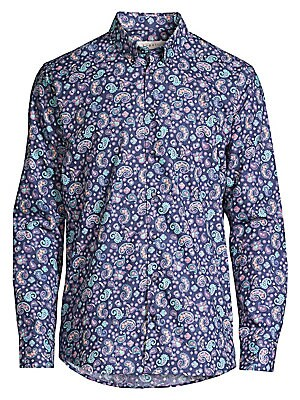 """Image of A vibrant paisley print lends modernity to a crisp cotton button-up great for office-to-weekend looks. Point collar Long sleeves Button cuffs Button front Shirttail hem Cotton Machine wash Imported SIZE & FIT Modern fit About 30.5"""" from shoulder to hem. M"""