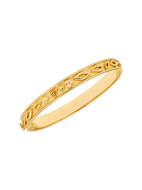 Nature Deconstructed River Wave 18K Yellow Gold & Diamond Large Bangle Bracelet