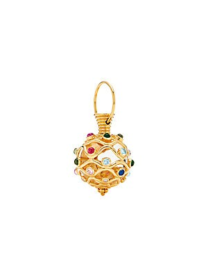 Temple St  Clair - Nature Deconstructed Theodora 18K Yellow Gold Mixed  Gemstones & Diamonds Amulet