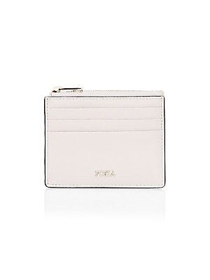 """Image of Textured leather card case with zipper flaunts goldtone logo details. Top zip closure Goldtone hardware Leather Imported SIZE 8.25""""W x 6.25""""H. Handbags - Contemporary Handbags > Saks Fifth Avenue. Furla. Color: Linog."""