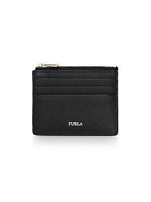 """Image of Textured leather card case with zipper flaunts goldtone logo details. Top zip closure Goldtone hardware Leather Imported SIZE 8.25""""W x 6.25""""H. Handbags - Contemporary Handbags > Saks Fifth Avenue. Furla. Color: Onyx."""