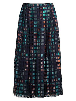 """Image of ONLY AT SAKS. Plisse tulle midi skirt with square motif embroidery. Side zip closure Lined Polyester Dry clean Imported SIZE & FIT A-line silhouette About 35.5"""" long Model shown is 5'10"""" (177cm) wearing US size 4. Modern Collecti - Boss Black. BOSS. Color"""