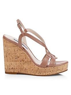 0ebd6a347df Stuart Weitzman. Cressa Cork   Leather Platform Wedge Sandals