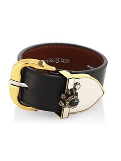 48ca6438731770 QUICK VIEW. Alexander McQueen. Crystal-Embellished Leather Bracelet