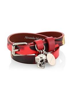 4c395239722797 QUICK VIEW. Alexander McQueen. Skull Pendant Double Wrap Leather Bracelet