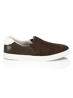 d925083d9fb5b Ermenegildo Zegna - Leonardo Woven Leather Slip-On Sneakers - saks.com