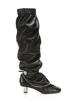 051fe80497f Clyde Ruched Leather Tall Boots BLACK. QUICK VIEW. Product image