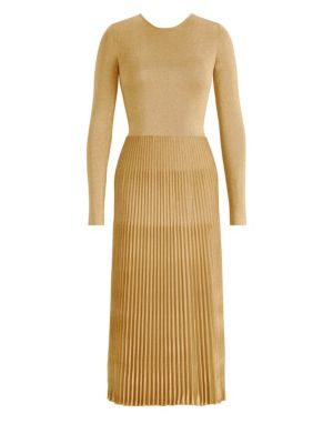 Metallic Pleated Skirt Midi Dress by Ralph Lauren Collection