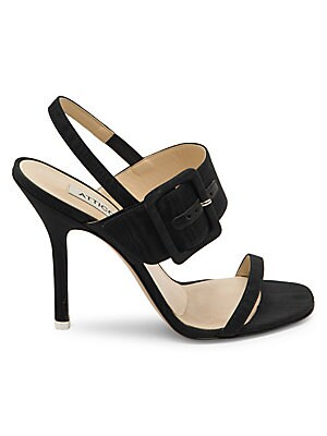 Image of A wide buckle-strap modernizes these versatile slingbacks set on a tall high heel. Viscose/leather upper Open toe Front buckle strap Elasticized ankle strap Dust and authenticity card included Leather lining and sole Made in Italy SIZE Self-covered heel,