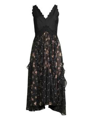 Rebecca Taylor Silks Daniella Floral Midi Flare Dress