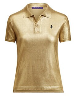 f1b779607fc97 QUICK VIEW. Ralph Lauren Collection. Gold Lacquer Pony Polo Tee