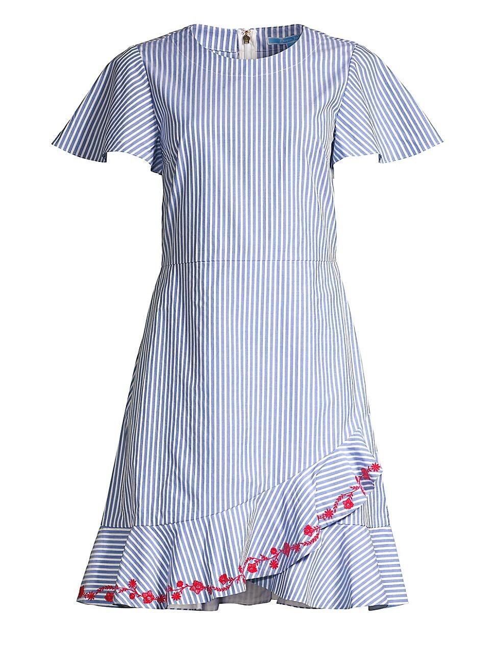 Draper James WOMEN'S EMBROIDERED RUFFLE COTTON DRESS