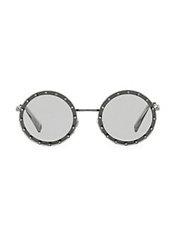 dd6ab3c5b Valentino. 52MM Solid Embellished Round Sunglasses
