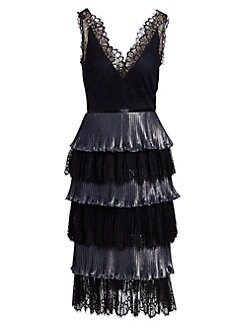 275b0bd474b7 QUICK VIEW. Marchesa Notte. Tiered Lace Midi Dress
