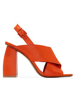 0ee7456e2dc Leather Block Heel Sandals RED. QUICK VIEW. Product image