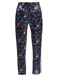 363b9950 Saks Fifth Avenue. MODERN Floral Racing Stripe Track Pants