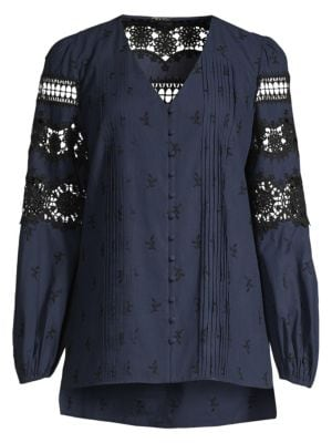 Elie Tahari Tops Leigha Embroidered Lace Eyelet Marie Sleeve Blouse